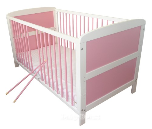 babybett kinderbett juniorbett weiss rosa 140x70cm neu ebay. Black Bedroom Furniture Sets. Home Design Ideas