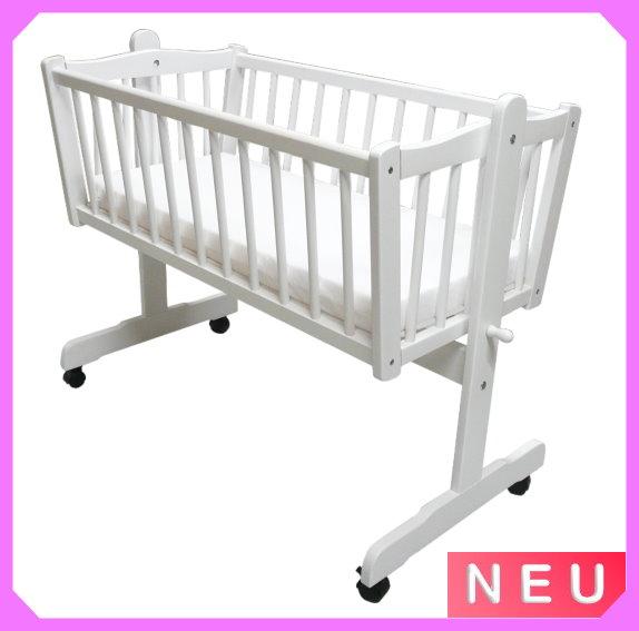 wiege schaukelwiege babywiege weiss mit matratze neu ebay. Black Bedroom Furniture Sets. Home Design Ideas