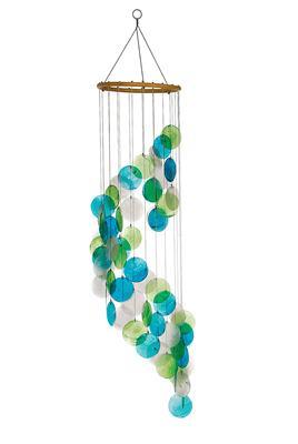 73cm mobile naturmaterial windspiel mit perlmutt spirale t rkis feng shui ebay. Black Bedroom Furniture Sets. Home Design Ideas
