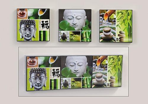3 er set bilder buddha bambus steingarten feng shui wandbilder kaufen bei. Black Bedroom Furniture Sets. Home Design Ideas