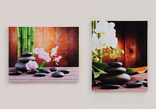 2 wandbilder orchidee auf steingarten 40cm x 50cm bambus feng shui. Black Bedroom Furniture Sets. Home Design Ideas