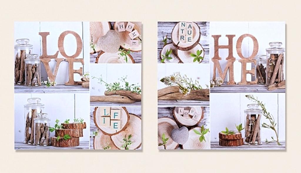 2 er set gro e wandbilder love home 60 cm x 60 cm nature life bilder holz ebay. Black Bedroom Furniture Sets. Home Design Ideas