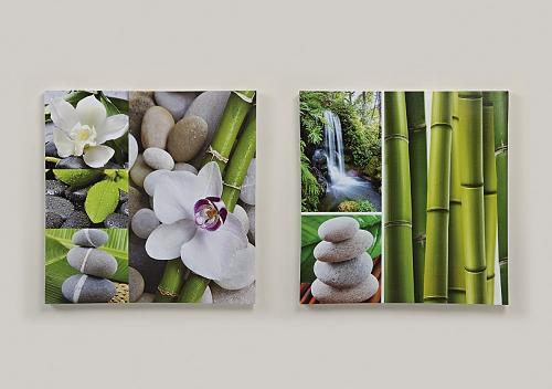 2er set bambus orchidee bild wandbild 60cm feng shui. Black Bedroom Furniture Sets. Home Design Ideas