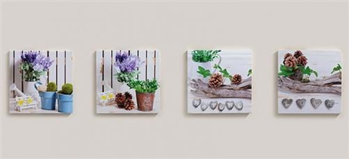 4 er set bilder lavendel motive wandbild je 16 x 16 cm blumen love lila ebay. Black Bedroom Furniture Sets. Home Design Ideas