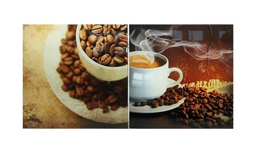 2 glasbilder motiv kaffee moderne schwere bilder je 1kg schwer 30cm x30cm ebay. Black Bedroom Furniture Sets. Home Design Ideas