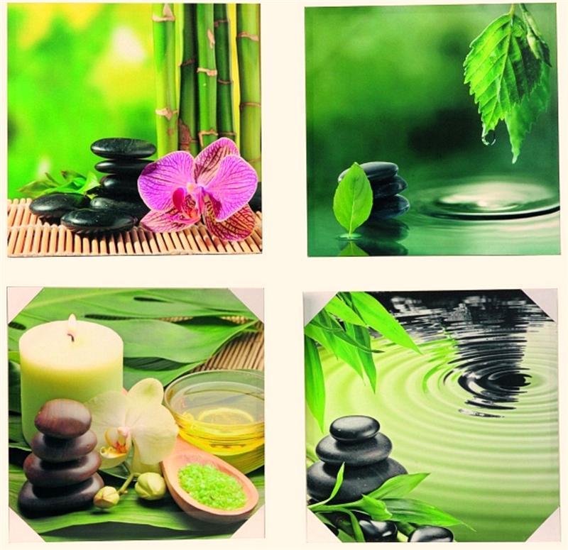 4 x wandbild bambus steingarten orchidee je 50 x 50 cm feng shui bilder ebay. Black Bedroom Furniture Sets. Home Design Ideas