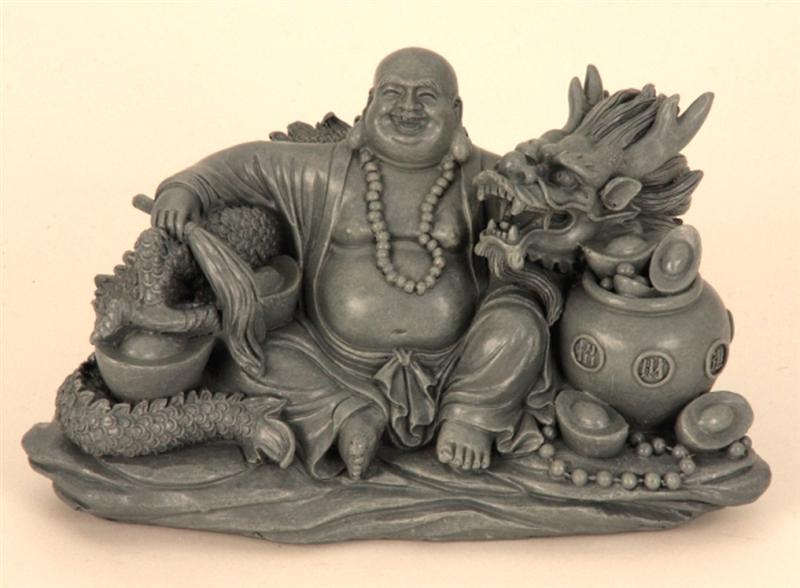 buddha mit drachen feng shui figuren grau asiatika dekoration asia ebay. Black Bedroom Furniture Sets. Home Design Ideas