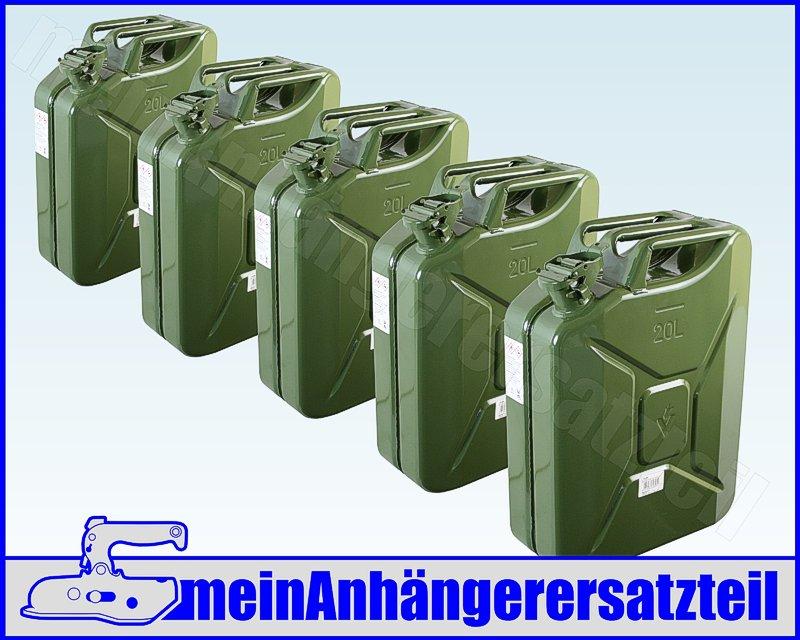 5x 20 liter 20l dieselkanister benzinkanister metallkanister kraftstoffkanister. Black Bedroom Furniture Sets. Home Design Ideas