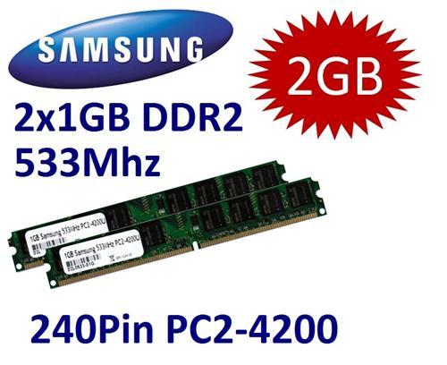 2x-1GB-2GB-RAM-PC-Speicher-DDR2-533-400-Mhz-PC2-3200U