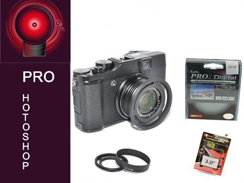 Sonnenblende-u-Filteradapter-fuer-Fuji-X10-ink-Echtglasschutz-Pro1-Digital