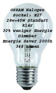 osram halogen es gl hbirne e27 28w 40w klar 2000h ebay. Black Bedroom Furniture Sets. Home Design Ideas