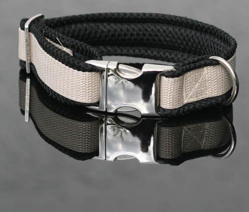 de luxe halsband bestickt mit name telefonnummer hundehalsband airmesh ebay. Black Bedroom Furniture Sets. Home Design Ideas