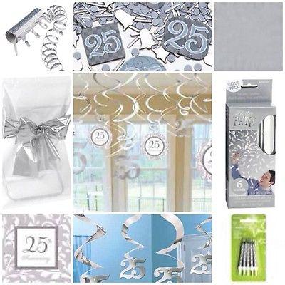 silberne hochzeit 25 konfetti luftballon luftschlangen girlanden servietten deko. Black Bedroom Furniture Sets. Home Design Ideas