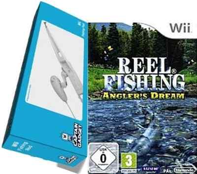 Wii-Spiel-Reel-Fishing-Anglers-Dream-Angeln-inkl-hochwertiger-Rute-Angel-NEU
