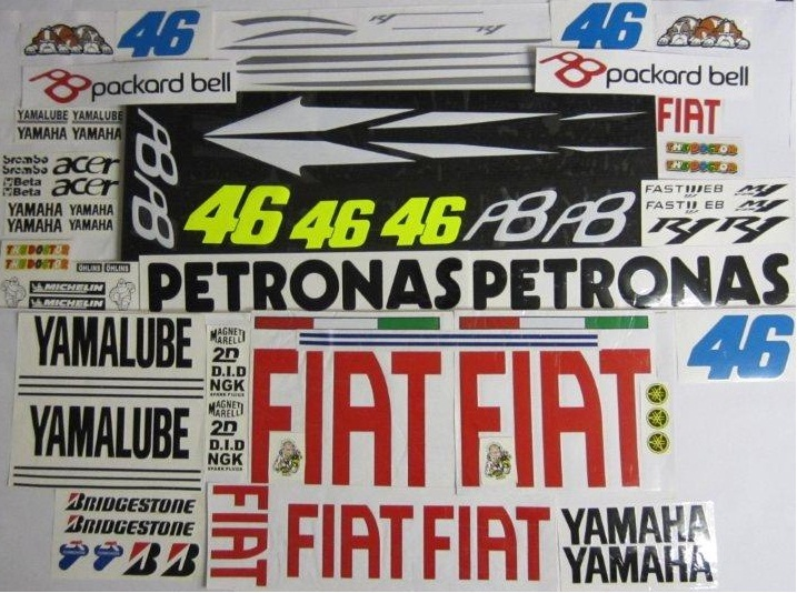 Aufkleber Set Rossi Fiat 2010 Yamaha Rn12 Rn19 Rj11 R6