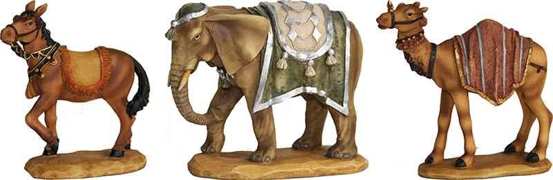 krippenfiguren tiere elefant kamel pferd im set f r figuren 9 11 cm. Black Bedroom Furniture Sets. Home Design Ideas