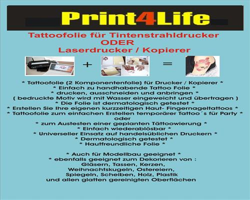 Tattoo-Folie Kerzen Folie Body Style Fingernageldesign Kerzendesign Inkjet Laser