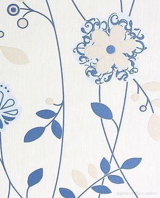 blumen vlies tapete blau creme rasch 405149 neu ebay. Black Bedroom Furniture Sets. Home Design Ideas