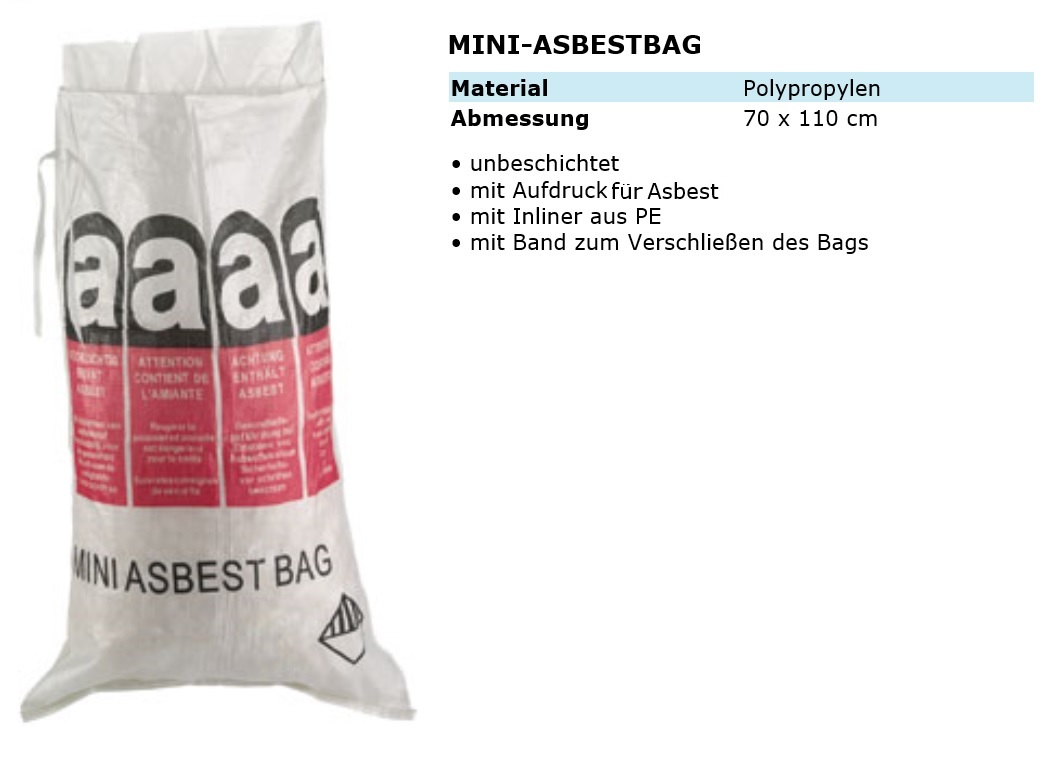 mini asbest bag 70x110cm 120 liter sack mini big bag verschliessbar ebay. Black Bedroom Furniture Sets. Home Design Ideas
