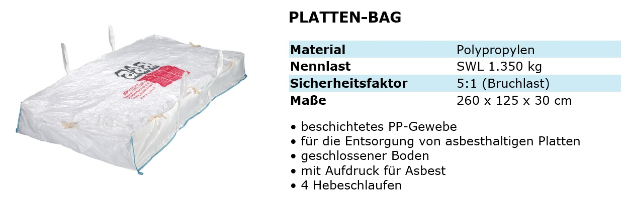 asbest plattenbag 260x125x30cm 1350 kg bigbags mit 4 schlaufen big bag ebay. Black Bedroom Furniture Sets. Home Design Ideas