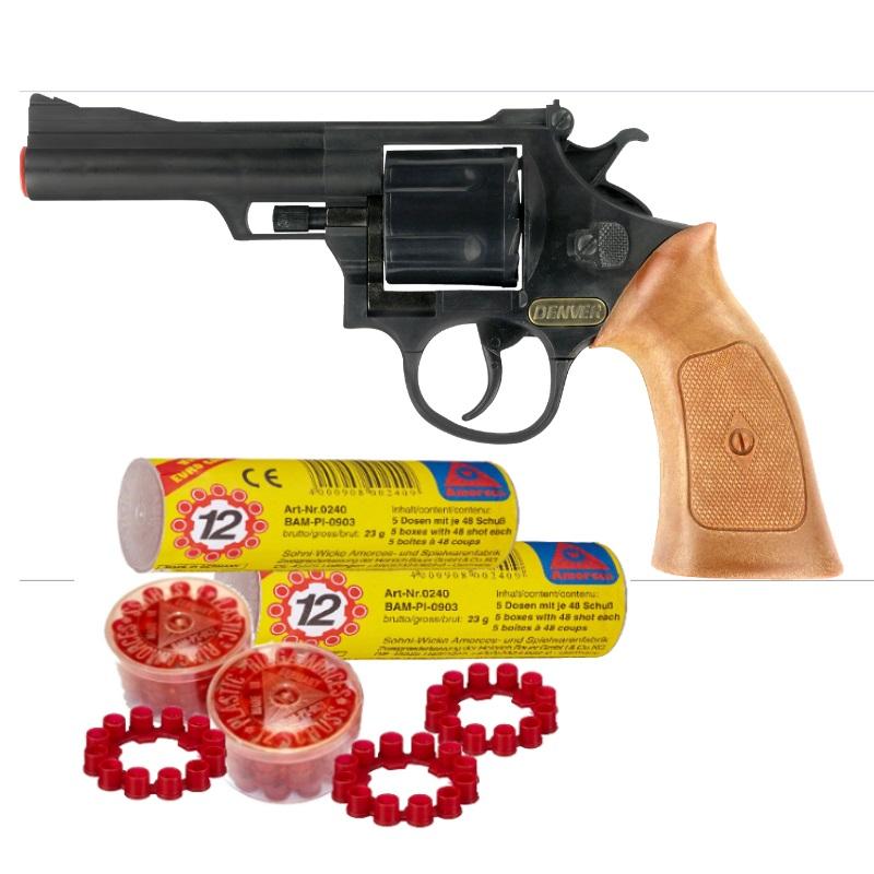 Denver revolver spielzeug knallpistole schwarz pistole zum