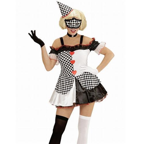 clown kost m pierrot 34 36 damen kleid mit hut harlekin karneval 5761 ebay. Black Bedroom Furniture Sets. Home Design Ideas