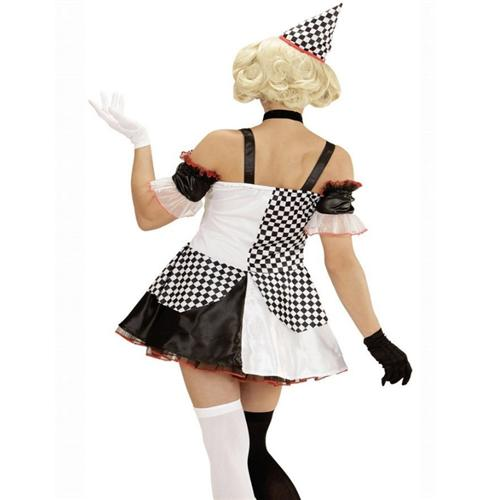 clown kost m pierrot 38 40 damen kleid mit hut harlekin karneval 5762 ebay. Black Bedroom Furniture Sets. Home Design Ideas
