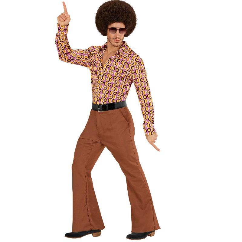 70er jahre herren schlaghose hemd braun kost m disco. Black Bedroom Furniture Sets. Home Design Ideas