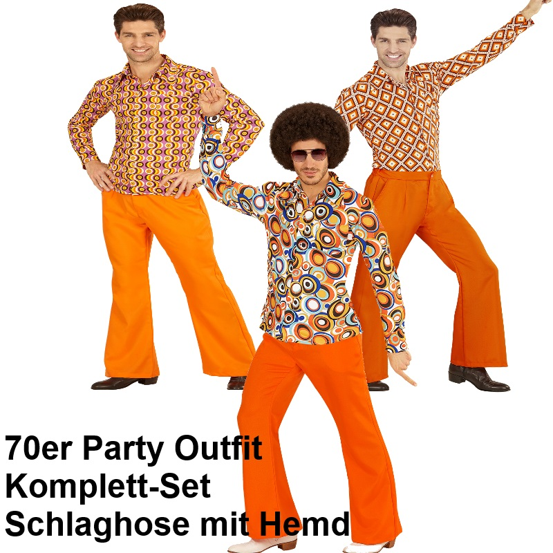 70er jahre herren schlaghose hemd orange kost m disco hippie schlagermove ebay. Black Bedroom Furniture Sets. Home Design Ideas