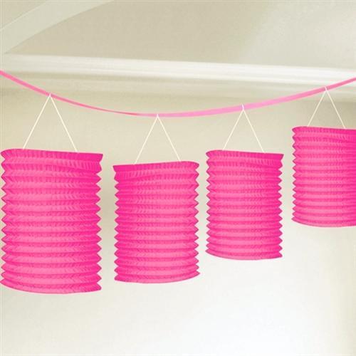 Party deko pink rosa papier laterne f cher girlande pompom for Pinke party deko