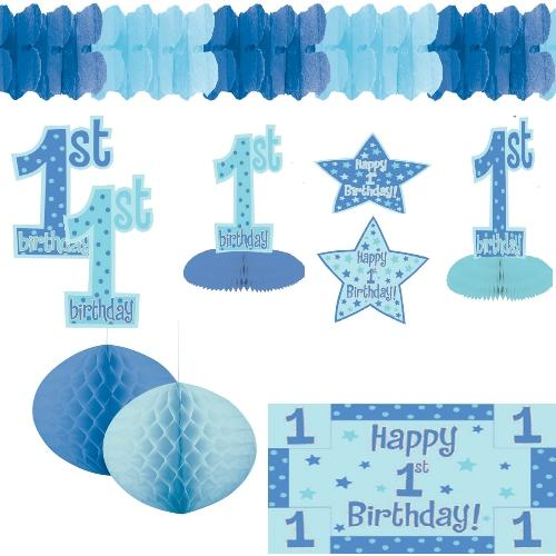 Geburt junge deko baby shower party deko blau set feier for Baby shower party deko