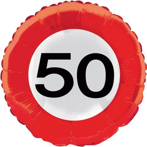 party dekoration 50 geburtstag verkehrsschild tischdeko