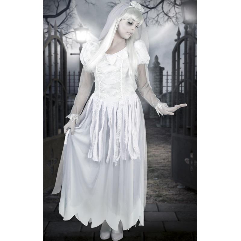 wei er geist geisterbraut vampir zombie kost m damen halloween 36 38 40 42 ebay. Black Bedroom Furniture Sets. Home Design Ideas