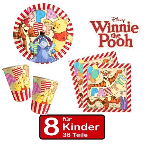 Party set winnie the pooh ii teller becher servietten 8 for Kinder party set