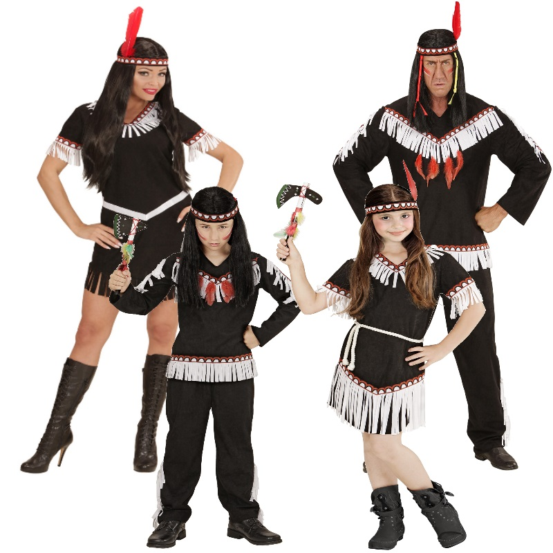 indianer familie indianerin damen herren junge m dchen kost m sioux apache squaw. Black Bedroom Furniture Sets. Home Design Ideas