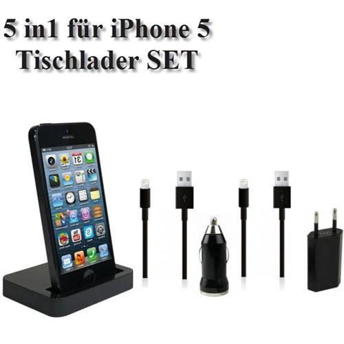 5in1-iPhone-5-Tischlader-Dockingstation-Ladegeraet-Auto-Ladekabel-Lightning-BLACK