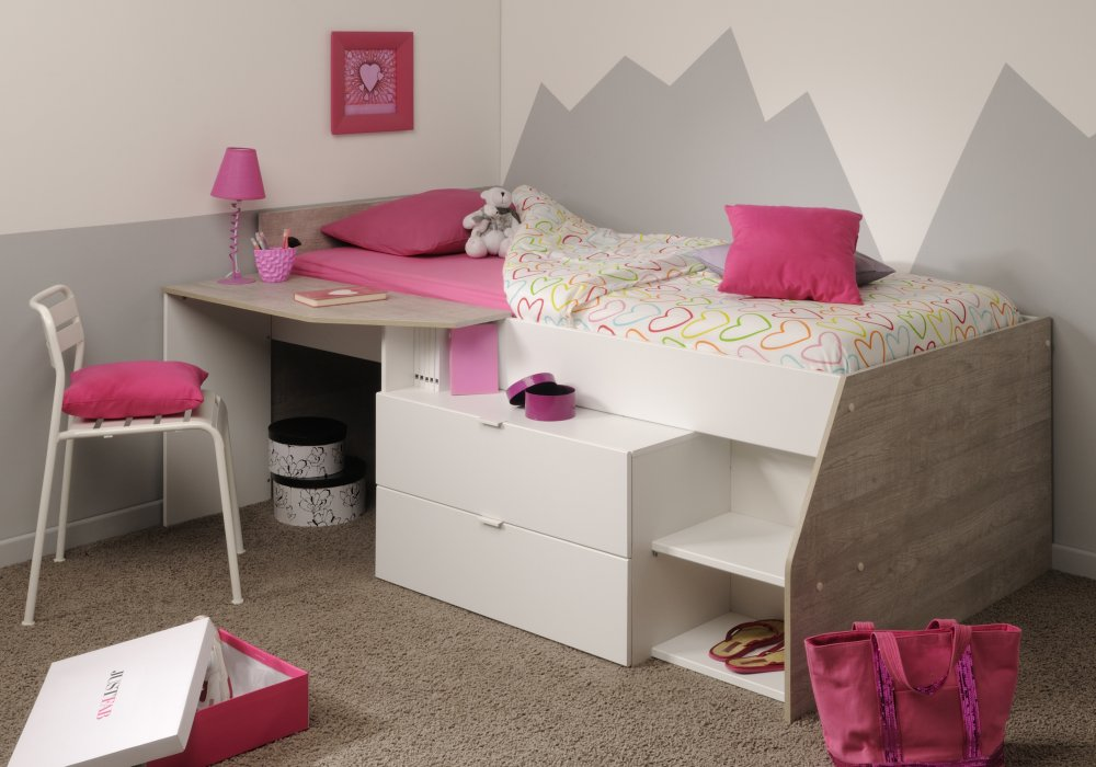 halbhohes bett einzelliege jugendbett 90x200 cm kinderzimmer grau weiss neu ebay. Black Bedroom Furniture Sets. Home Design Ideas