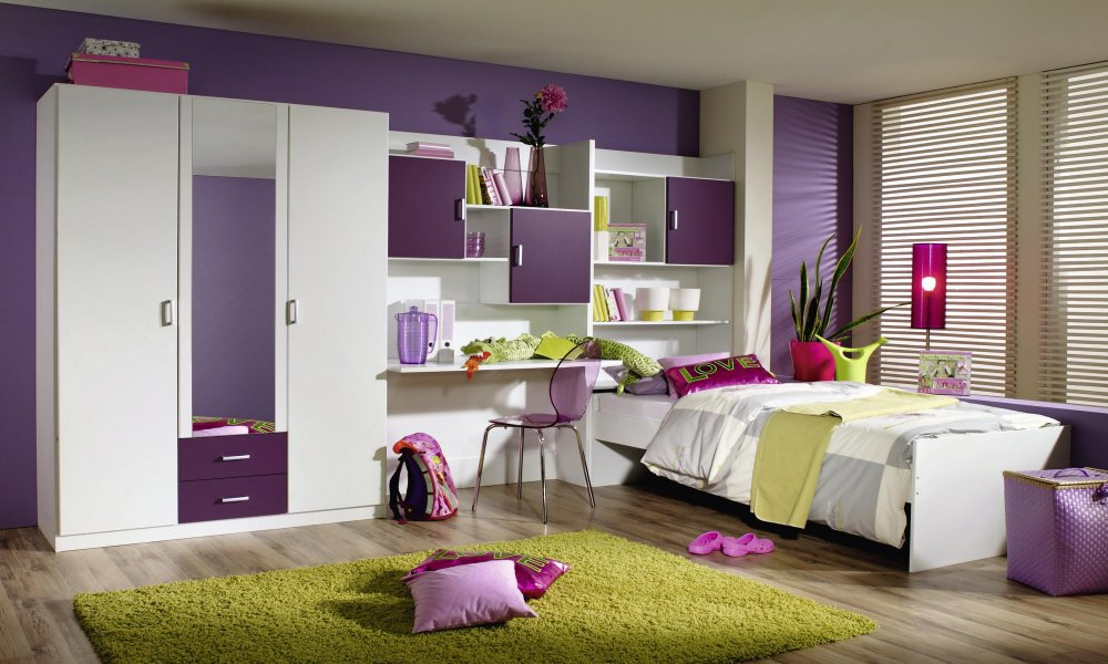 jugendzimmer kinderzimmer 3 tlg schrank bett 90x200 flow 1. Black Bedroom Furniture Sets. Home Design Ideas