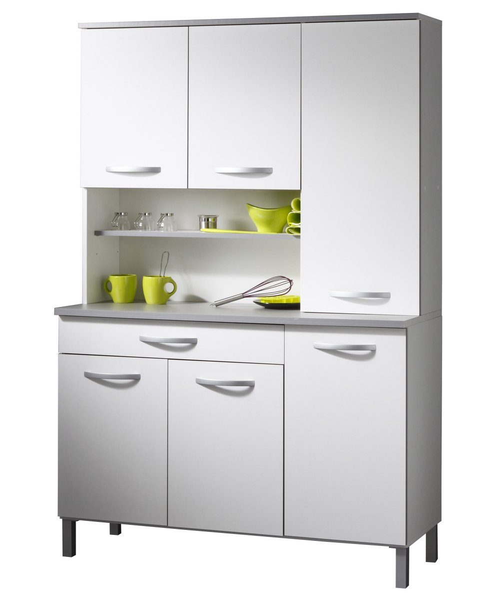 buffet buffetschrank mehrzweckschrank k chenschrank 120 cm stauraum grau weiss. Black Bedroom Furniture Sets. Home Design Ideas