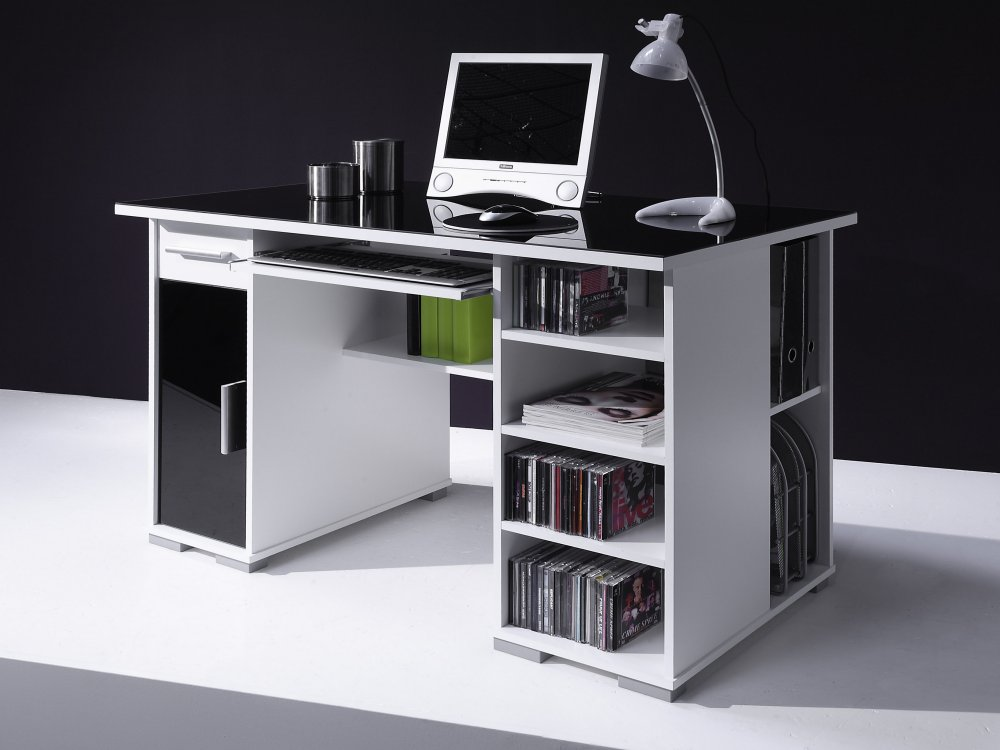schreibtisch computertisch pc tisch home office weiss schwarz neu. Black Bedroom Furniture Sets. Home Design Ideas