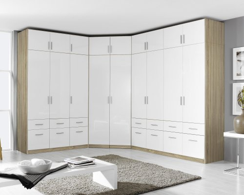 eckschrank schrank kleiderschrank aufsatz eiche sonoma weiss hochglanz neu ebay. Black Bedroom Furniture Sets. Home Design Ideas