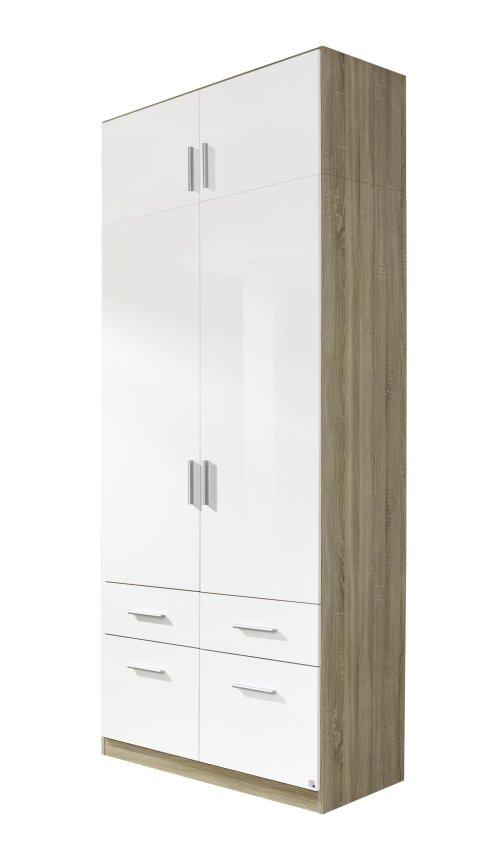 kleiderschrank 2 trg schubk sten aufsatz schrank eiche. Black Bedroom Furniture Sets. Home Design Ideas