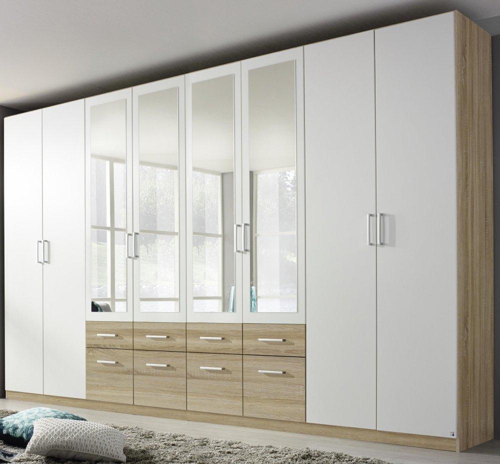 kleiderschrank 8 trg schrank spiegel schubk sten eiche sonoma weiss neu ebay. Black Bedroom Furniture Sets. Home Design Ideas