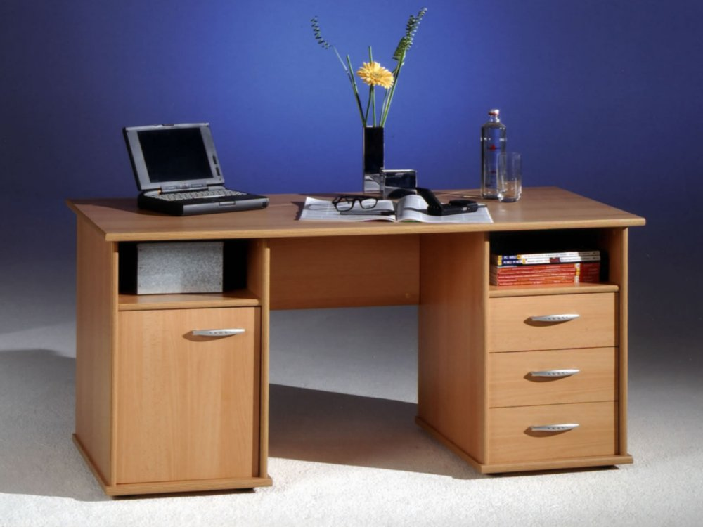 Schreibtisch computertisch b ro pc tisch home office buche for Schreibtischplatte buche