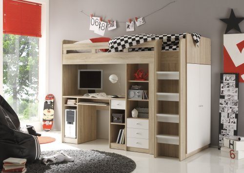 hochbett incl kleiderschrank bett regal kinderzimmer jugendzimmer eiche weiss ebay. Black Bedroom Furniture Sets. Home Design Ideas