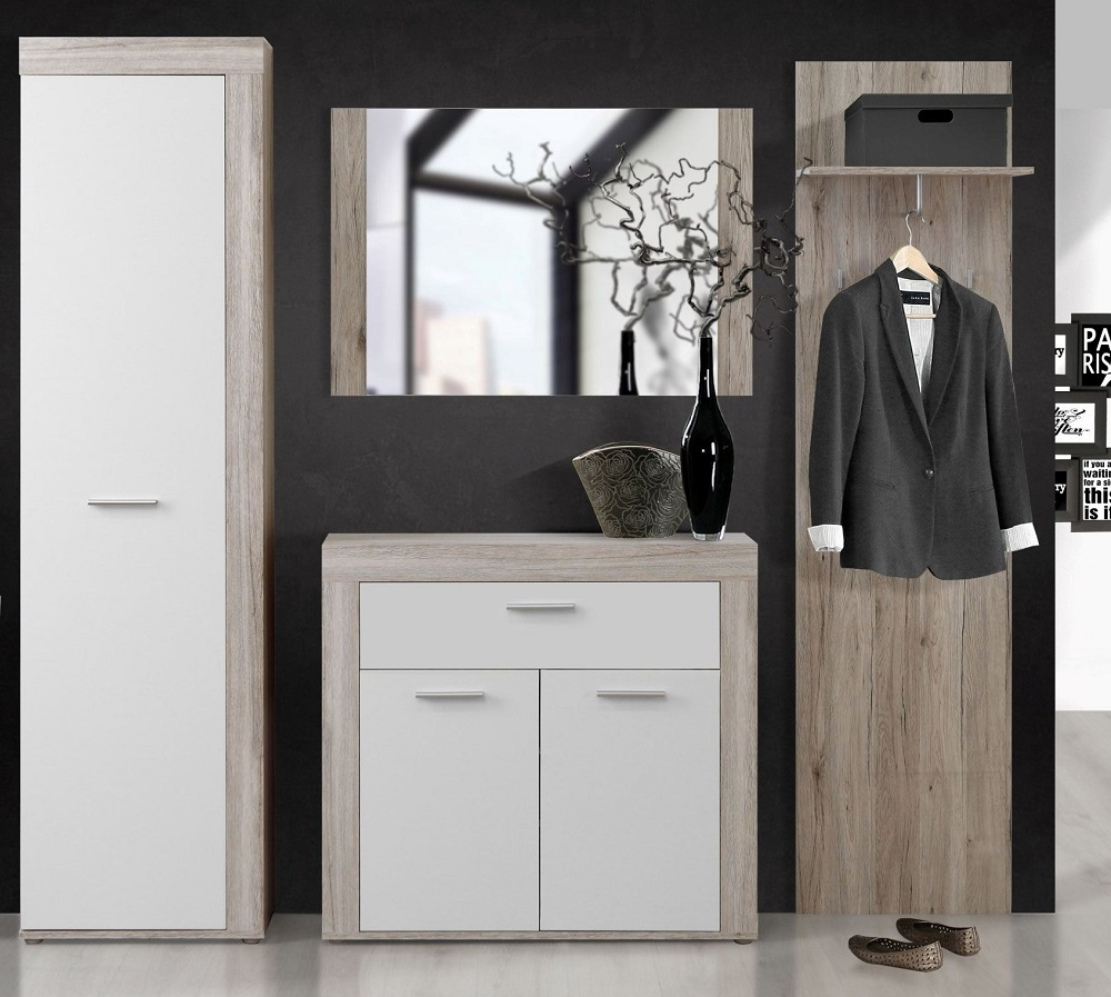 garderobe 4 tlg kleiderschrank wandpaneel schuhschrank sandeiche weiss neu ebay. Black Bedroom Furniture Sets. Home Design Ideas