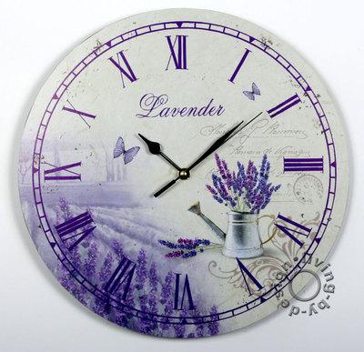 wanduhr aus holz 30cm lavendel violett lila k chenuhr r mische ziffern uhr ebay. Black Bedroom Furniture Sets. Home Design Ideas