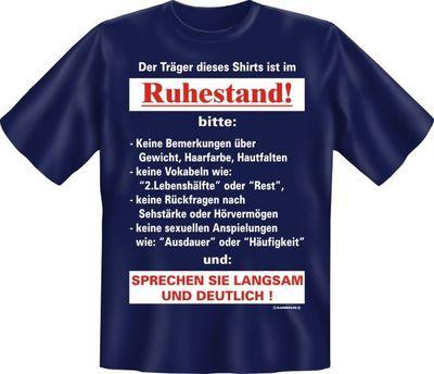 Fun Shirt Ruhestand T-Shirt Spruch Rentner Rente Pension ...