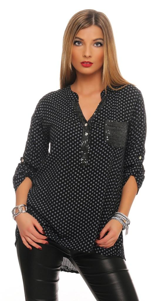 damen bluse hemd langarm shirt top longshirt punkte. Black Bedroom Furniture Sets. Home Design Ideas