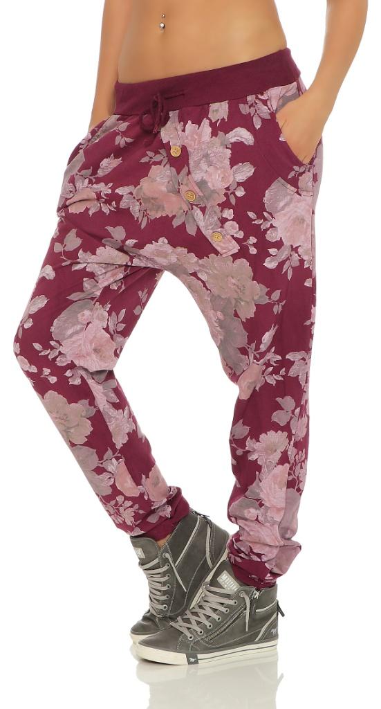 Mississhop-Damen-Hose-Jogginghose-Freizeithose-Baggy-Haremshose-im-Blumenprint